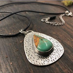 Turquoise Sterling Silver Leather Cord Necklace